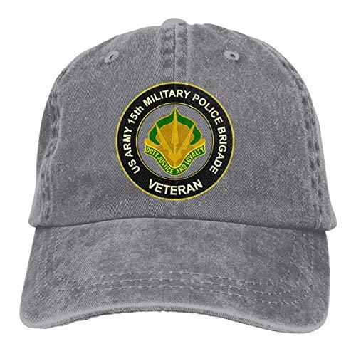 U.S. Army 15th Military Police Brigade Unit Crest Veteran Summer Cool Heat Shield Unisex Adult Cowboy Hat Gray