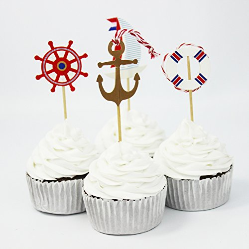 SUNBEAUTY-24pcs-Ocean-Rudder-Anchors-Lifebuoy-Cupcake-Toppers-Glitter-Picks-Cake-Accessory-for-Wedding-Birthday-Baby-Showers-Event-Party-Supplies