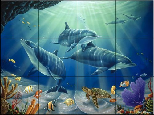 Ceramic tile mural dolphin family by jeff wilkie for Dolphin tile mural
