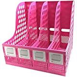 Magazine File Storage Office 4 Compartment Desktop Folder Organizer Rack Pink