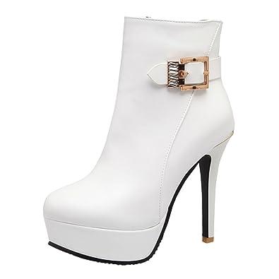 YE Damen Ankle Boots Stiletto High Heels Plateau