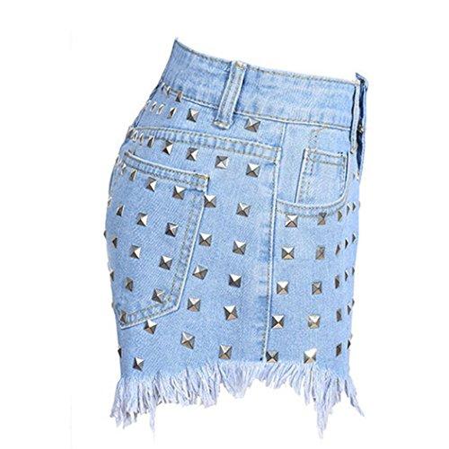 Corto Jeans Alta Flecos Pantalones Pantalones Calientes Vaqueros Mujer De Cintura Remaches LHWY De EláStico Playa Vaqueros zFw7dWfnqz