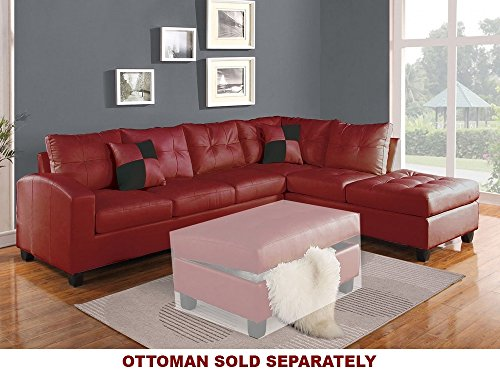 ACME Kiva Red Bonded Leather Reversible Sectional Sofa with 2 Pillows