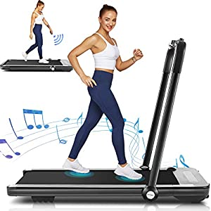 Folding Treadmill,Under Desk Treadmill for Home,2-in-1 Running,Walking & Jogging Portable Running Machine with Bluetooth Speaker & Remote Control,5 Modes & 12 Programs,No Assembly Required