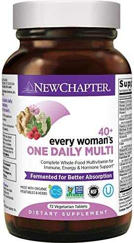 New Chapter Women's, Every Woman's One Daily 40+, Fermented with Probiotics + Vitamin D3 + B Vitamins + Organic Non-GMO Ingredients - ct Multivitamin, 72 Count (Pack of one)
