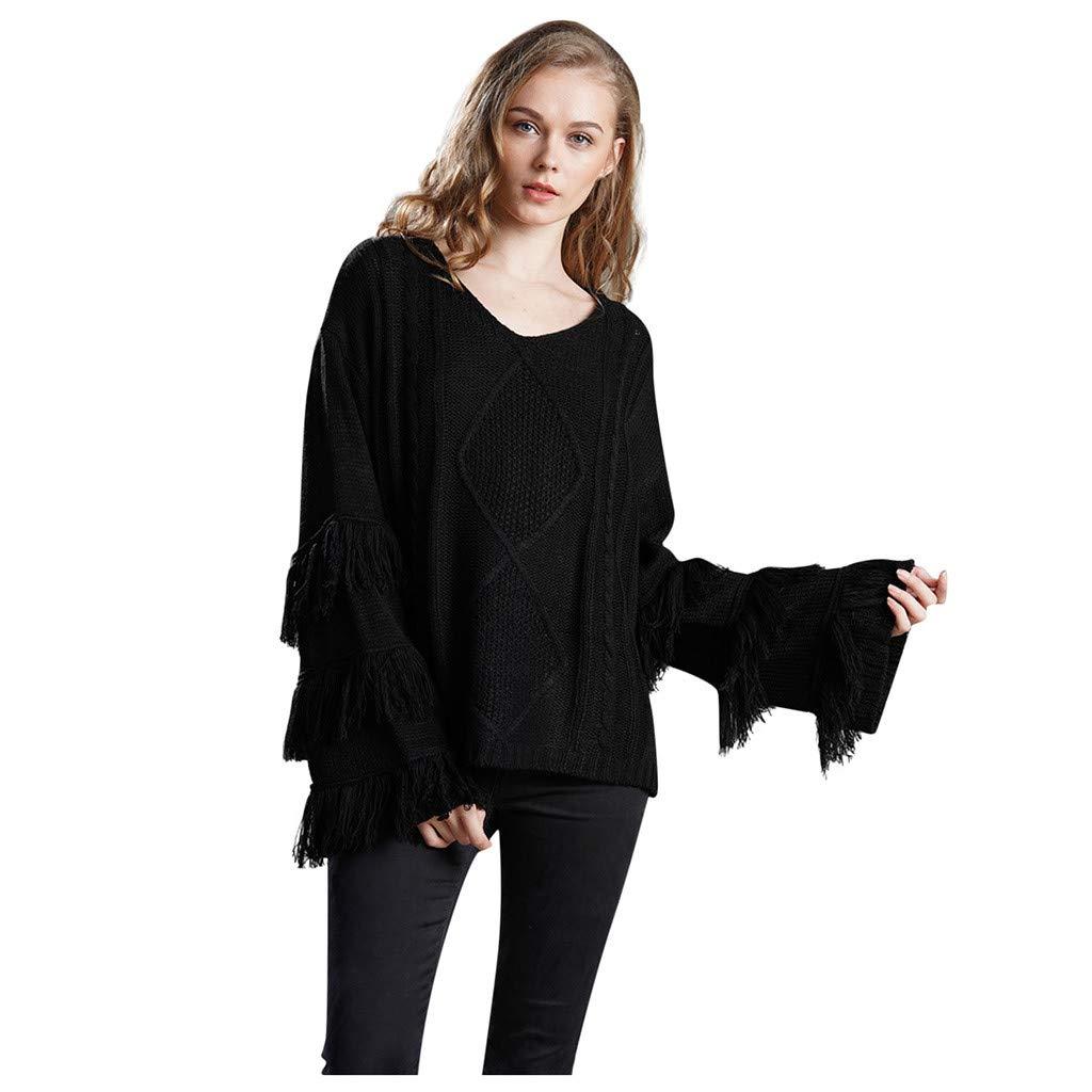 Shusuen Women's Knitwear Pullover V Neck Flared Tassel Sleeve Side Slit Knit Cable Sweater Black by Shusuen_Clothes