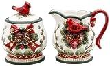 Cosmos Gifts 6-Ounce Evergreen Holiday Cardinal Sugar and Creamer Set