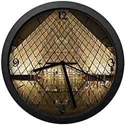 BCWAYGOD Louvre Silent Wall Clock, 12 inch Non Ticking Wall Clock Battery Operated, Glass Cover, Decorative for Kitchen, Living Room, Bathroom, Bedroom, Office