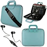 """Baby Blue SumacLife Cady Bag Textured Hard Case w/ Removable Shoulders Strap for Asus eee Pad Slider SL101 Android 10.1"""" Sliding Tablet + Black Handsfree Hifi Noise Isolating Stereo Headphones with Windscreen Microphone and Soft Silicone Ear Tips"""