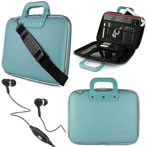 Price comparison product image SumacLife Cady 10.1-inch Tablet Messenger Bag for Visual Land Prestige Tablets with Black Headphones (Blue)