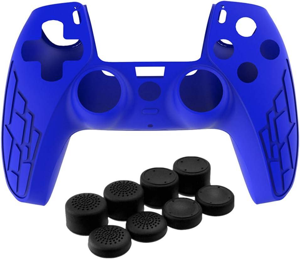 funda de silicona azul + 8 grips dualsense playstation 5