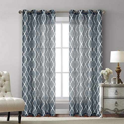 Grey Moroccan Print Semi Sheer Curtains for Bedroom- Faux Linen Blend Sheer Drapes Textured Geometry Grommet Window Treatment Lattice 108 Inch Long Curtain Panel Set for Living Room 52