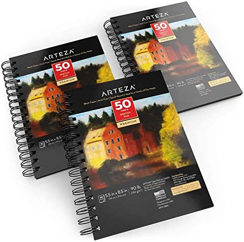 "Arteza Black Sketch Pad, 5.5x8.5"", Pack of 3, 150 Sheets (90lb/150gsm), 50 Sheets Each, Spiral-Bound, Heavyweight Paper, for Graphite & Colored Pencils, Charcoal"