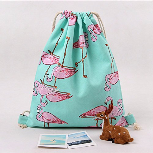 Bags Printing Unisex Drawstring TianranRT Backpacks Backpack Geometric Green Retro Flamingos fXFxnqg4
