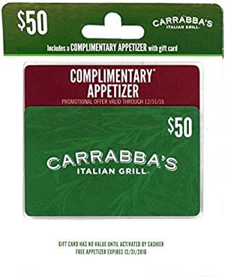 picture about Carrabba's Coupons Printable named Carrabbas Italian Grill Reward Card with Cost-free Appetizer Reward Supply