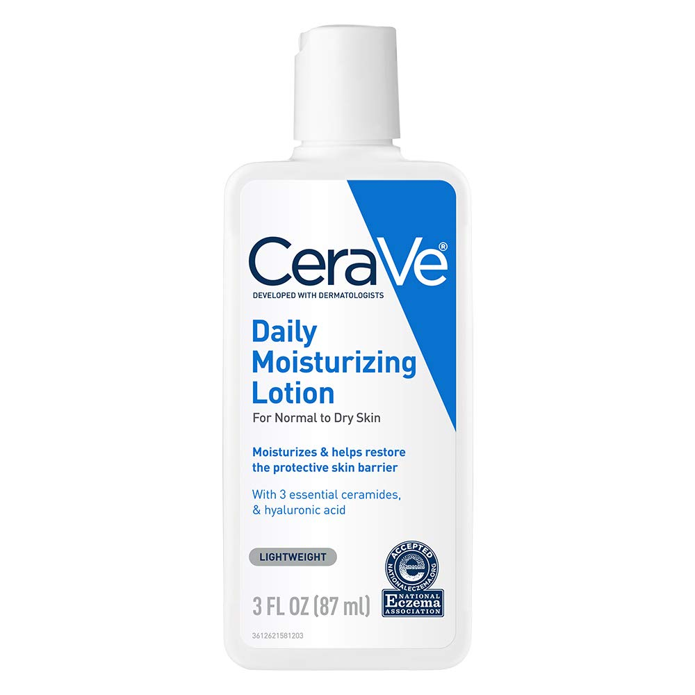 CeraVe Daily Moisturizing Lotion | 3 Ounce | Face & Body Lotion for Dry Skin with Hyaluronic Acid | Packaging May Vary