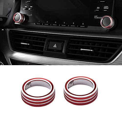 Thor-Ind Aluminum Centre Console Sound Volume Knob Cover For 10th Honda Accord Sedan Sport EX EX-L LX 2018 2019 Car Interior Multimedia Volume Audio Button Decoration Ring Cover Trim (Volume Knob-Red)
