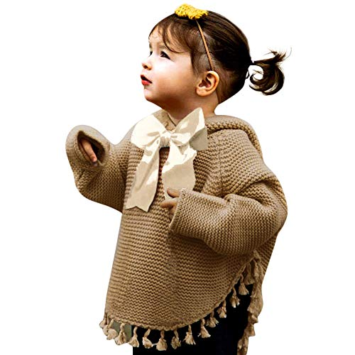 (Birdfly 12M-3T Infant Toddler Baby Kid Girl Tassel Sweater with Neck Bowknot Fall Winter Knitted Hoodie (24M, Brown))