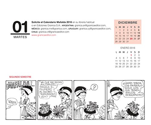 Calendario 2016 Argentina.Mafalda 2015 Calendario De Escritorio Verde Spanish