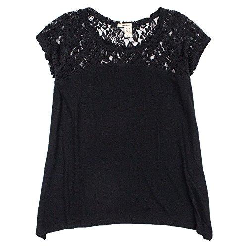 DKNY Jeans Womens Short Sleeve Lace Top L Black Dkny Jeans Womens Skirt