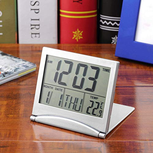 Guoainn Practical Lovely Exquisite Folding LCD Digital Alarm Clock Electronic Calendar Thermometer Mini Desk Clock