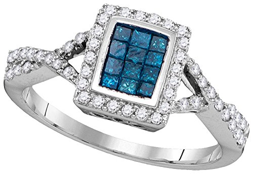 Jewel Tie Size - 5-10k White Gold Princess Cut Round Blue And White Diamond Fashion Band OR Engagement Ring Invisible Set Emerald-Shape Shaped Halo Ring (.55 cttw.)