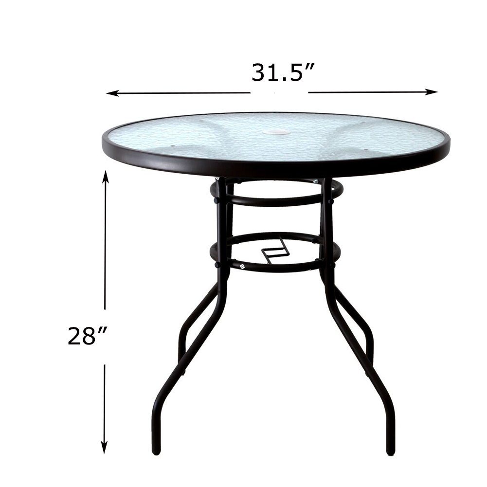 AOODA 31.5 Patio Table Dining Table Umbrella Stand Table with Tempered Glass Top Patio Bistro Table Yard Deck Outdoor Furniture Garden Table for Backyard, Balcony, Pool Round