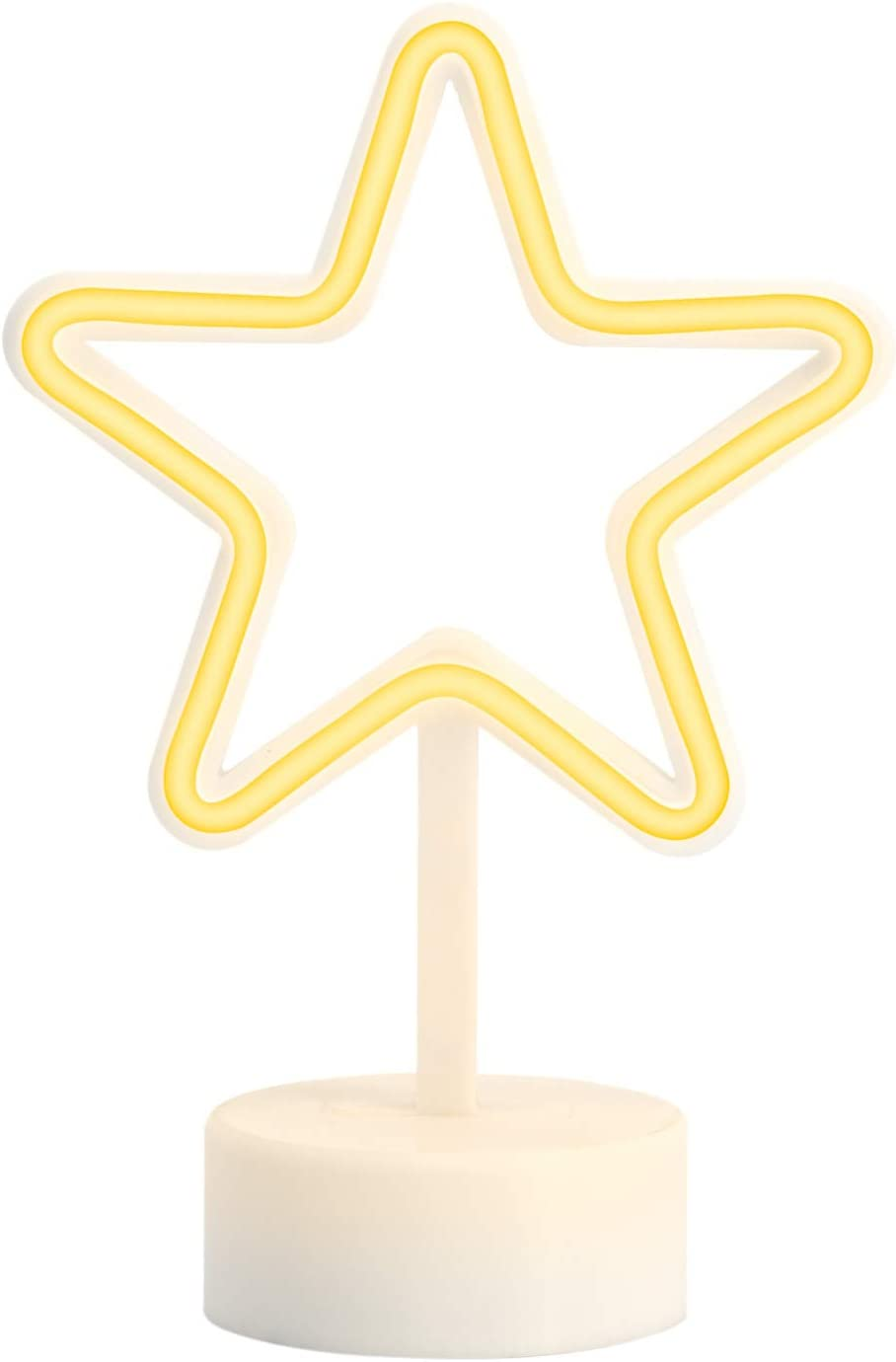Amped & Co, Star Desk Light, Mini LED Neon Collection, Night Lite Novelty Room Decor, Battery Powered, 7.5 inches, Yellow