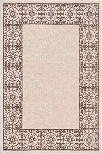 Well Woven Casa Tuscany Beige & Ivory Modern Classic Mediterranean Tile Border Floral 5' x 7' Area Rug Soft Shed Free Easy to Clean Stain Resistant