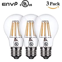 EnviPlus-LED LED Bulbs A19 Filament Light Bulb Warm White 9 Watts 60 Watts Incandescent Bulb Replacement E26/E27 Base Edison Style Vintage A60 LED Filament Bulb - Medium Screw Base Clear Glass Cover Ball Lamp (Warm White)