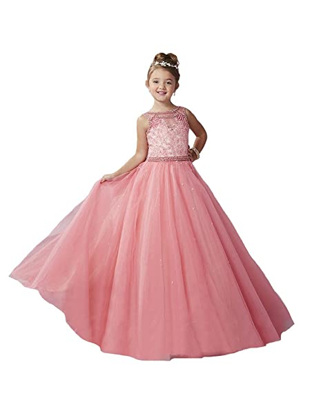 Amazon Wenli Girls Appliques Pearl Tulle Glitz Pageant Dresses