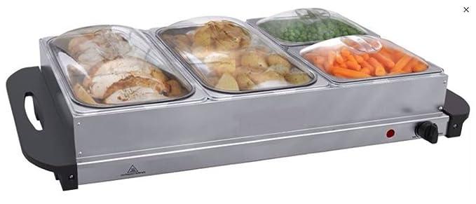 Bandeja para buffet Serve Calentador placa calefactora sartén placa caliente Acero 4 compartimentos Ollas Bandeja Tapa sartén de buffet comida Hornillo ...
