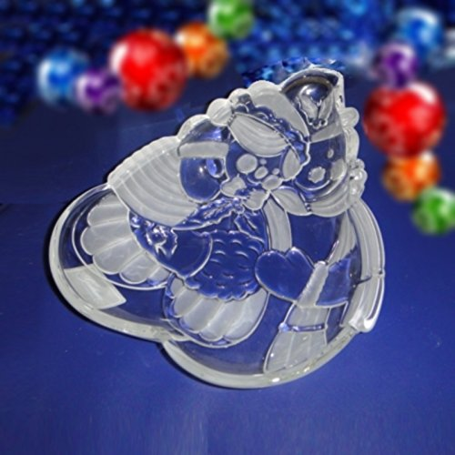 "Gorham Holiday Traditions Crystal Snow Couple Candy Dish ""Snowy Sweethearts"""