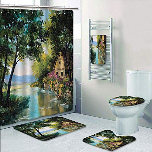 Pooh Winnie The Carpet (Bathroom 5 Piece Set shower curtain 3d print Multi Style,Rustic,Rustic House and River Trees Garden of Colorful Flowers Image,Green Light Blue and Light Brown,Bath Mat,Bathroom Carpet Rug,Non-Slip,Bat)