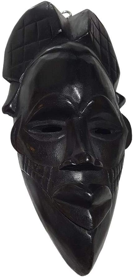 NOVARENA African Art Cameroon Gabon Fang Wall Masks and Sculptures - Africa Home Mask Decor (1 Pc Congo 12 Inch Black Mask)