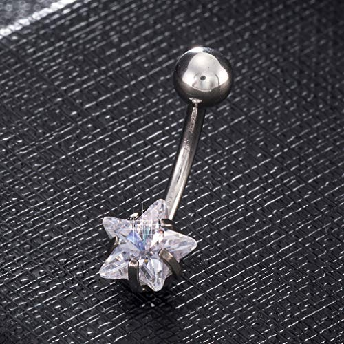 Little Star Umbilical Nails Fashion Five-Pointed Star Zircon Navel Body Piercing Belly Button Ring For Women Jewelry HH1066-1 (1 Cent Belly Button Rings)