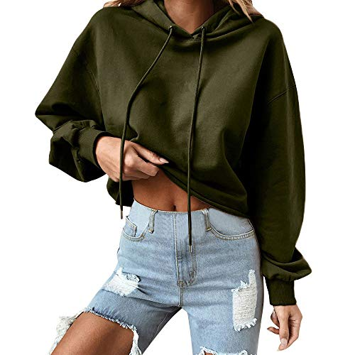 Women Hoodie Casual Tops, Round Neck Sweatshirts Pullover ANJUNIE Long Sleeve Shirts(Army Green,2XL)