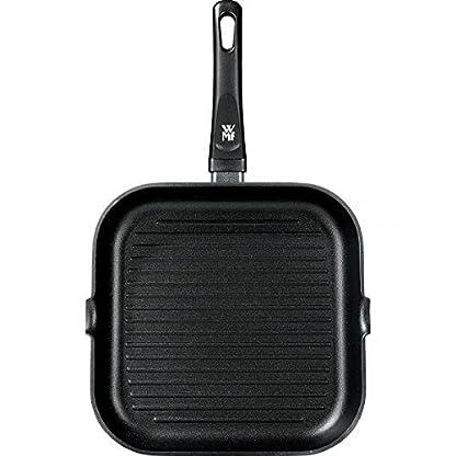 WMF Grillpfanne 27x27 cm mit Ausguss, Aluminium beschichtet, Steakpfanne ideal zum knusprigen Braten, eckige Pfanne, Kunststoffgriff 4