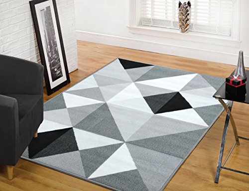 Modern Area Contemporary Rug Geometric (ADGO Collection, Modern Contemporary Rectangular Design Rubber-Backed Non-Slip (Non-Skid) Area Rugs| Thin Low Profile Indoor/Outdoor Floor Rug (5' x 7', Silver4))