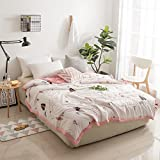 KFZ Cotton Quilt Comforter Cotton Bedspread Bed Cover for Bedding Set CJF SXM Kids Twin Full Queen Size Polar Bear Princess Crown Design for Adults Kids Teens 1pc (Plant Tree, Pink, Queen 78''x91'')