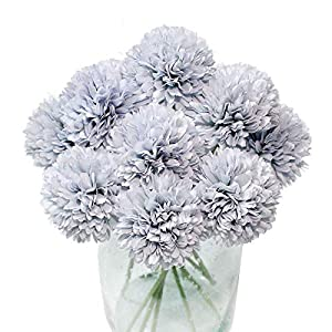 Jim`s Cabin Artificial Flowers Fake Silk Artificial Chrysanthemum Ball Hydrangea Bridal Wedding Bouquet for Kitchen Home Decor (Blue) 40