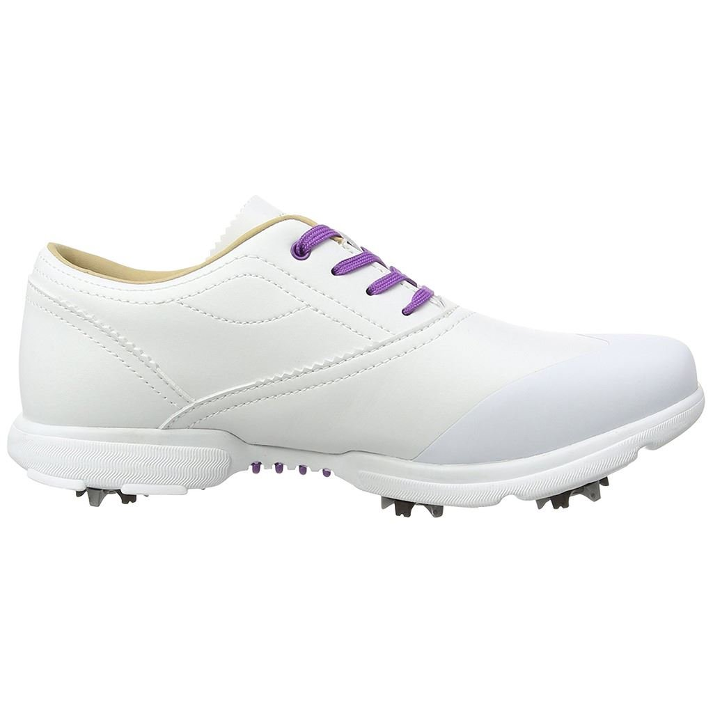 Hi-Tec Ladies Dri-Tec Classic Womens Spikes Golf Shoes - Waterproof White/Purple 6US
