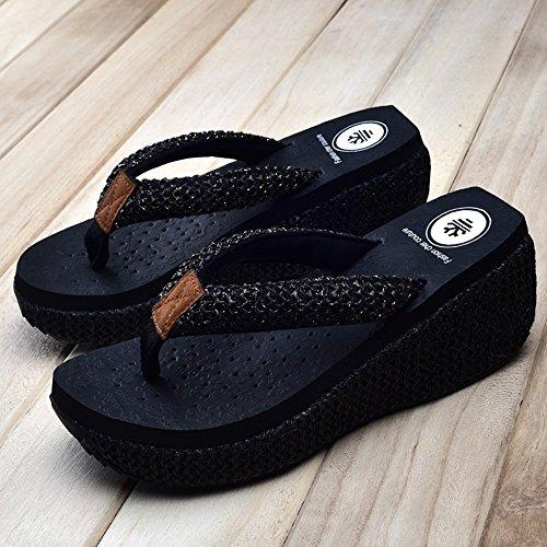 Slippers HAIZHEN Women shoes Summer Fashion Non-slip Sandals High Heels Beach For 18-40 Years Old (White, Black, Brown) for Women (Color : White, Size : EU39/UK6/CN39) Black