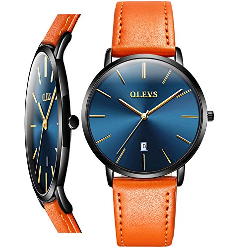 Mens Watch Thin Slim,Men Leather Watches on Sale Clearance,Fashion Quartz Date Wrist Watch for Men,Business Dress Watch Men with Yellow Black Brown Leather Strap Band,Blue Face Watch