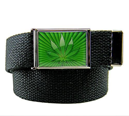 Build A Belt Marijuana Starburst Flip Top Men's Belt Buckle with Canvas Web Belt Medium Black -