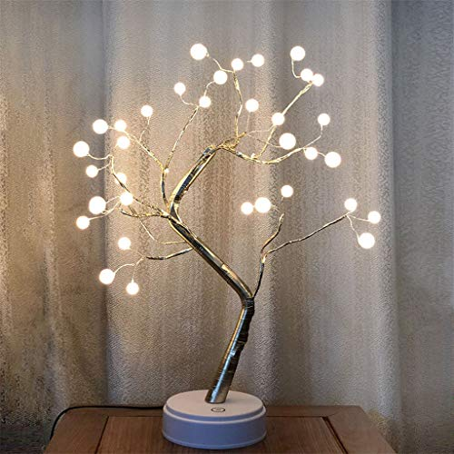 - Nesee Floor Lamp USB Battery-Operated Desk Lamp Pearl Tree Table Lamp Bonsai Tree LED Lights Lamps for Bedroom Home Decor Floor Lamps for Living Room Adjustable Lamp with 36 LED Beads