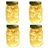 Solar Mason Jar Lights, 4 Pack 20 Leds Waterproof Fairy Firefly String Lights Build-in Glass Mason Jar, Best Patio Garden Decor Solar Hanging Lanterns Outdoor Warm White (4 Pack-Mason Jars Included)