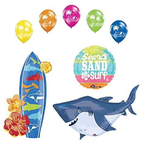 (Beach Luau Party Supplies Shark and Surfboard Balloon Bouquet)
