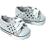 18 Inch Doll Sneakers. Silver Glitter Doll Sneakers Shoes Fit 18 Inch American Girl Dolls & More! Silver Glitter Sneakers Perfect for Doll Clothes for 18 Inch Dolls