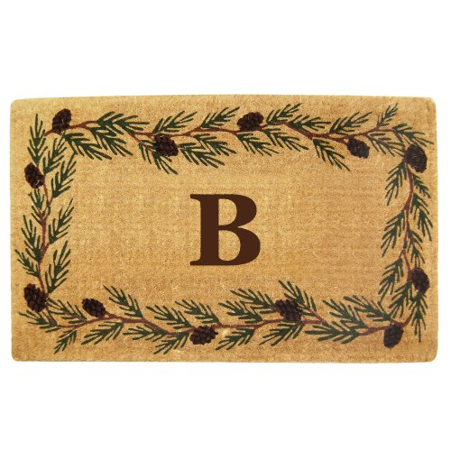 Nedia Home Heavy Duty Coco Mat with Evergreen Border, 30 by 48-Inch, Monogrammed B